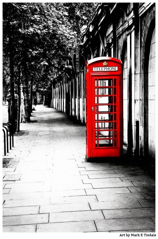 Red Phone Box Black And White Art - Print by Mark Tisdale