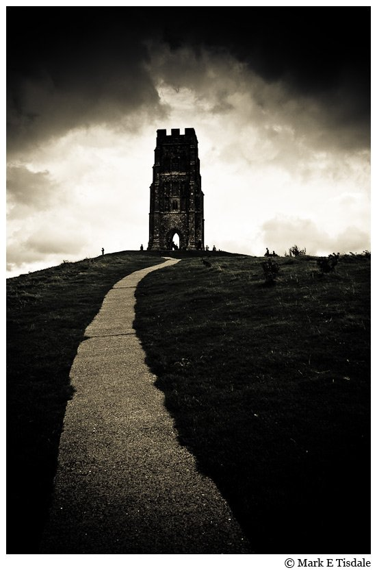 Black and white Photo of Glastonbury Tor in England - Also Thought to be Avalon
