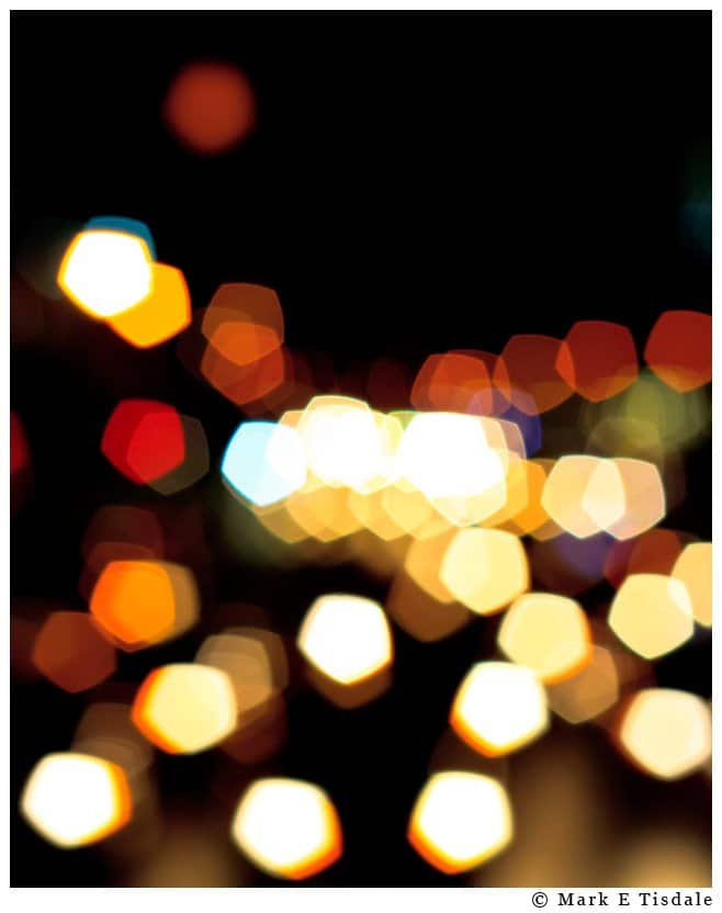 Abstract picture depicting out of focus city lights taken in New York