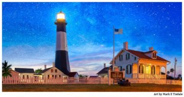 Artistic Picture of the Lighthouse on Tybee Island at Dusk - Panorama Print