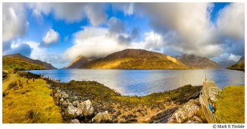 Landscape Panorama Picture taken along Killary Fjord in winter in Ireland