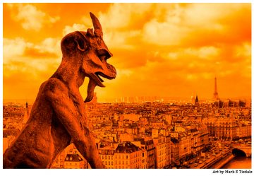 Parisian skyline featuring a close-up of one of Notre Dame's famous Gargoyles