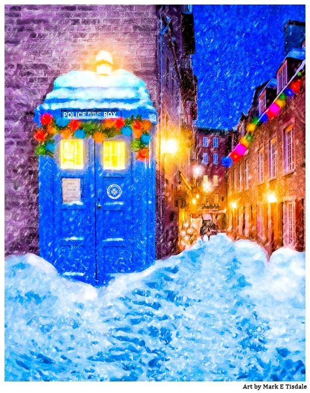 British Christmas Card - Blue Police Box In The Snow