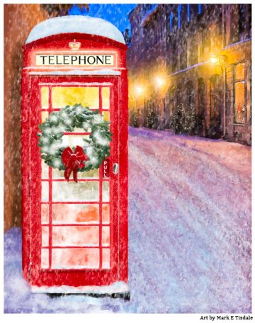 British Christmas Card Art - Red Phone Box In The Snow