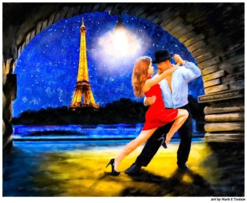 Eiffel Tower Romance Painting - Latin Dance Art