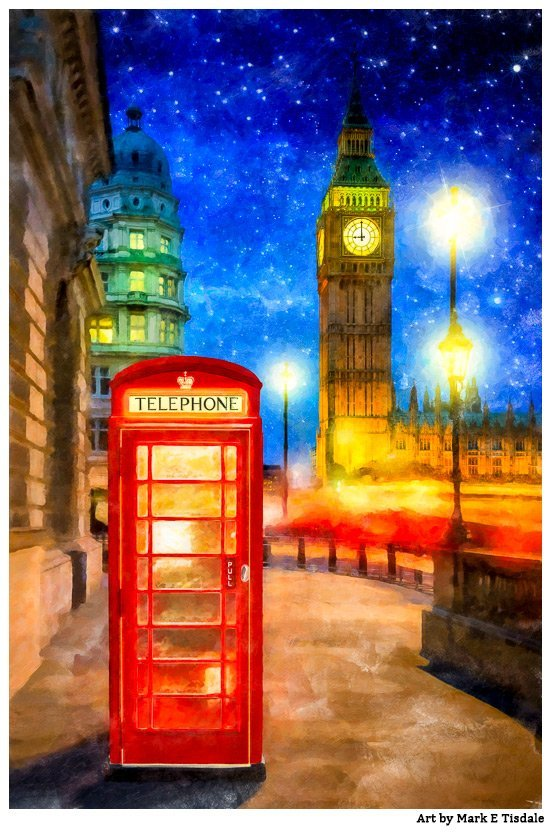Red Phone Box And Big Ben Art Print by Mark Tisdale