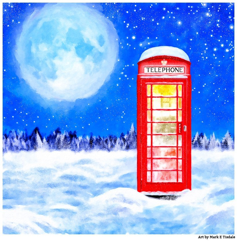 Red Phone Box Covered In Snow by Mark Tisdale