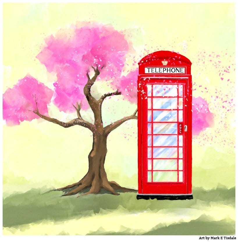Red Phone Box In The Spring by Mark Tisdale