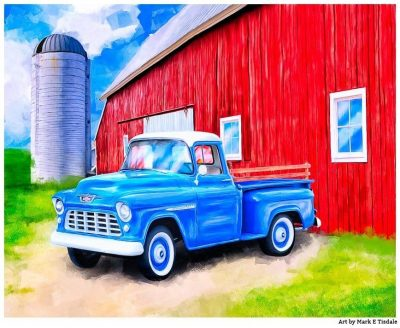 1955 Chevy Truck & Old Red Barn Farm Art Print