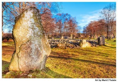 Balnuaran of Clava Print by Mark Tisdale - Neolithic stones and cairns in Scotland