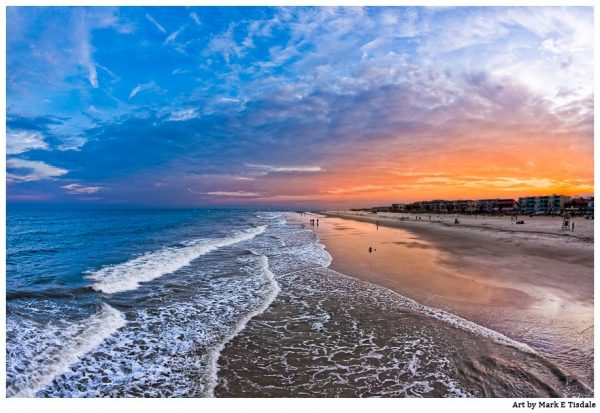 Landscape Art Print of Golden Orange Sunset Over Tybee Island Beach by Mark Tisdale