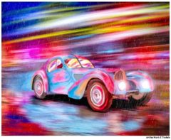 Bugatti Type 57 - Classic Car Art Print Print by Mark Tisdale