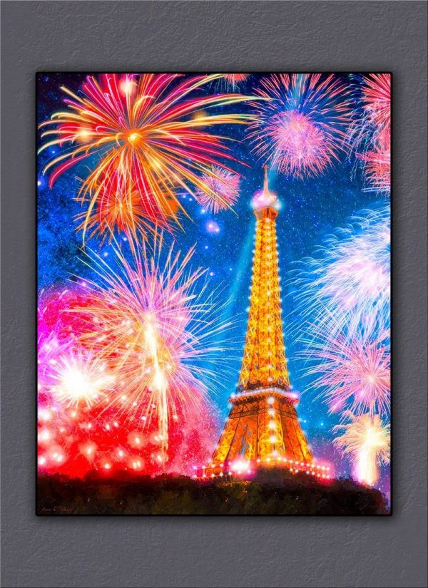 Eiffel Tower At Night With Fireworks Canvas Print