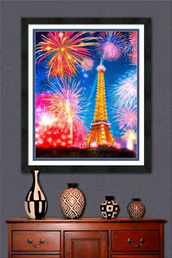 Eiffel Tower At Night With Fireworks Framed Wall Art