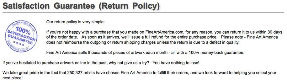 Fine Art America Guarantee Policy
