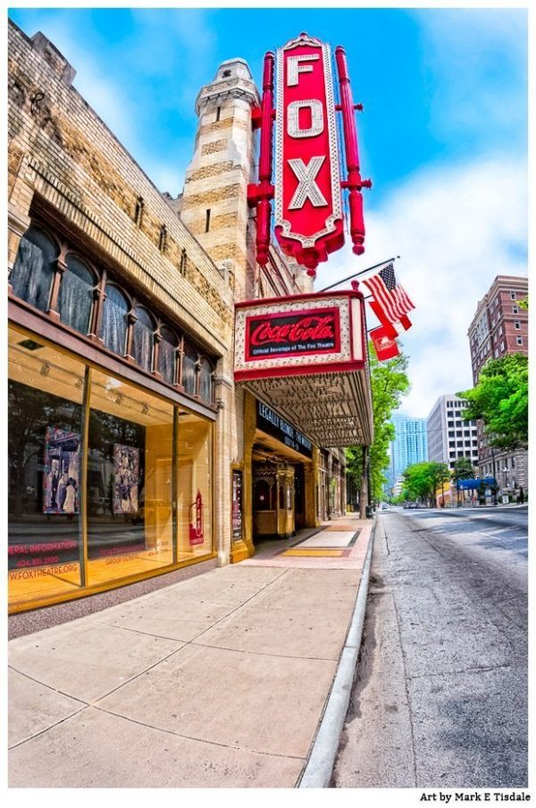 Fox Theatre On Peachtree Street - Atlanta Art Print by Georgia artist Mark Tisdale