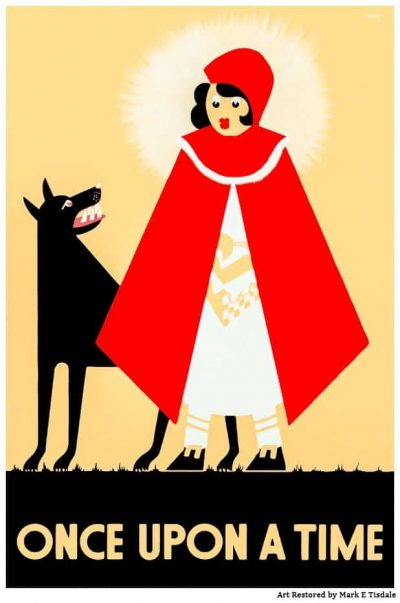 Vintage Poster Depicting Little Red Riding Hood - Restored by Mark Tisdale