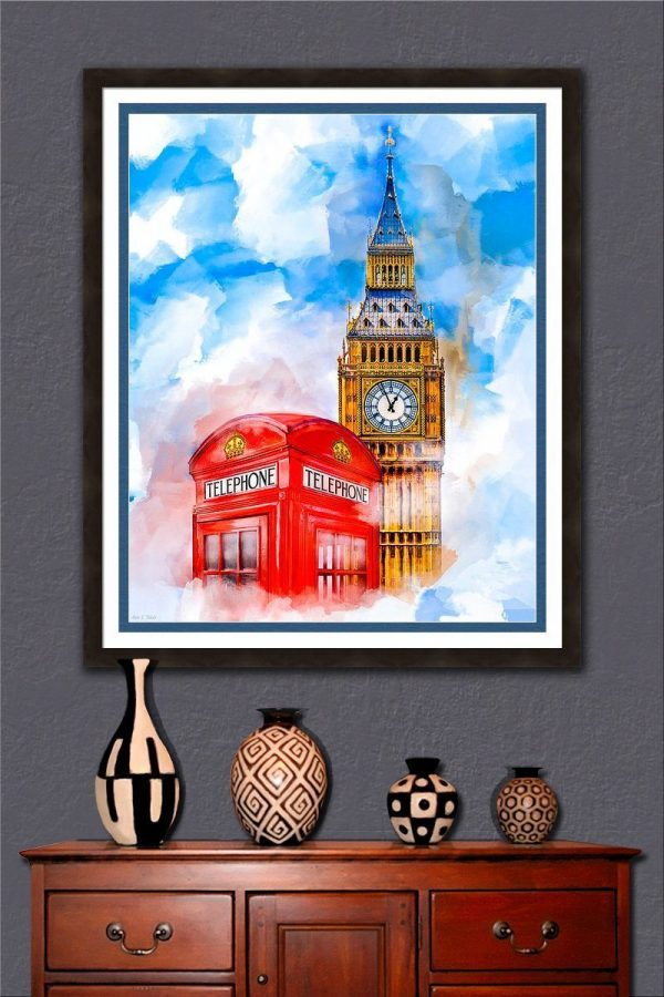 Big Ben And A Red Phone Box - London Dreaming Framed Wall Art