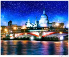The Thames On A Starry Night - London St Paul's Print By Mark Tisdale