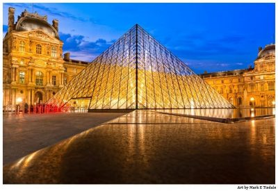 Louvre Pyramid At Night - Paris Print by Mark Tisdale