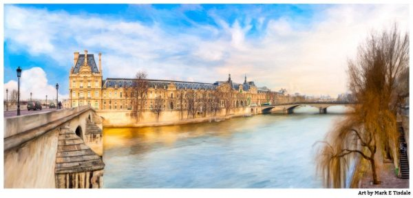 The Louvre on the River Seine - Paris Panorama Print by Mark Tisdale