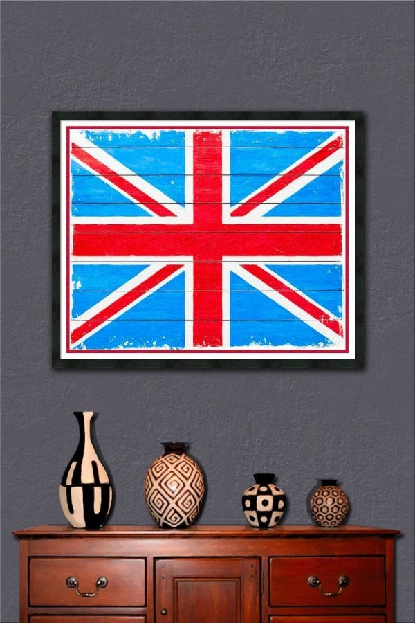 Rustic British Union Jack - Framed Wall Art