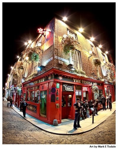 Dublin's Famous Temple Bar - Ireland at Night - Print by Mark Tisdale