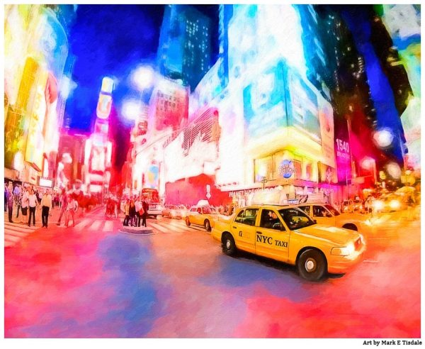 Times Square At Night Art Print - New York Taxi Cab Art by Mark Tisdale