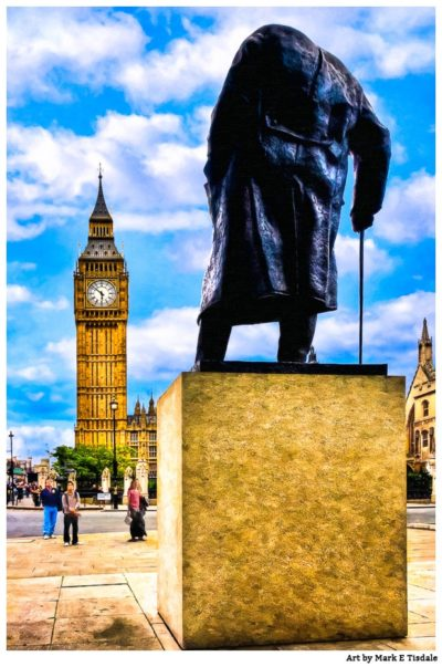 Winston Churchill And Big Ben - London Landmark Art Print by Mark Tisdale