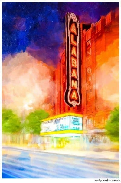 Alabama Theatre At Night - Historic Birmingham Art