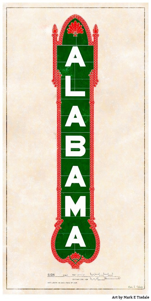 Alabama Theatre Sign - Birmingham Art Print by Mark Tisdale