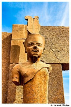 Art print of King Tut Statue in the Ruins of Karnak Temple - Egypt