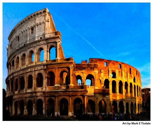 Art Print of the Ancient Roman Colosseum Ruins in Modern day Rome Italy
