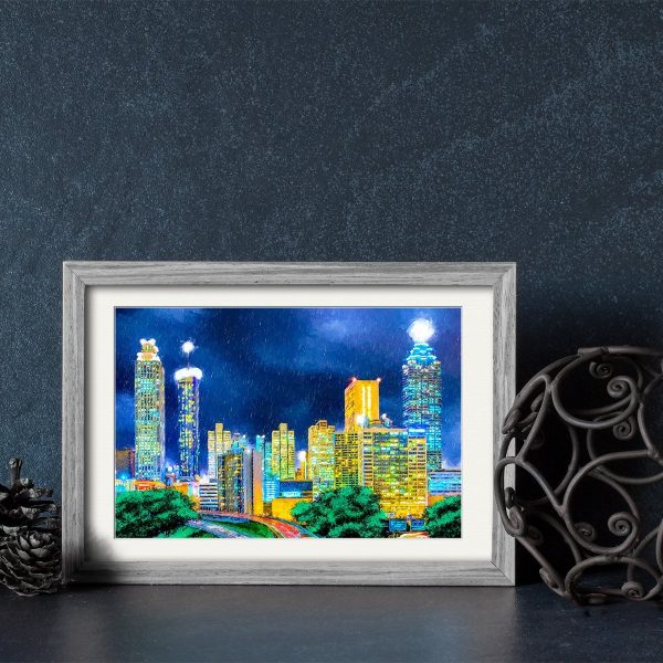 Atlanta Skyline Framed Print - For Small Gifts