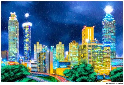 Atlanta Skyline At Night Painting Print