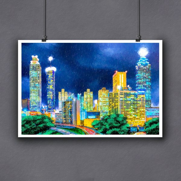 Fine Art Print Of Atlanta Skyline Painting - Small Through Large Sizes Available