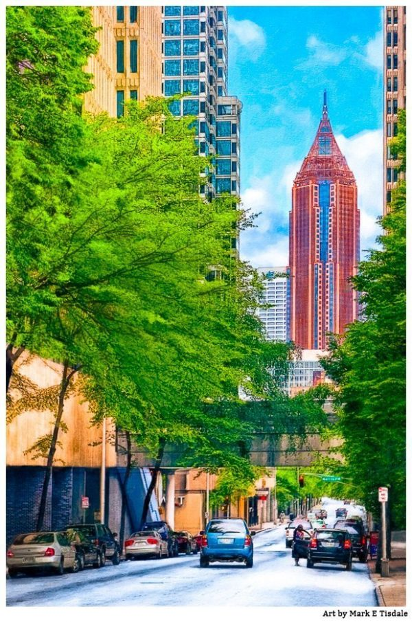Art Print of Atlanta Skyscrapers - View of Bank of America Plaza