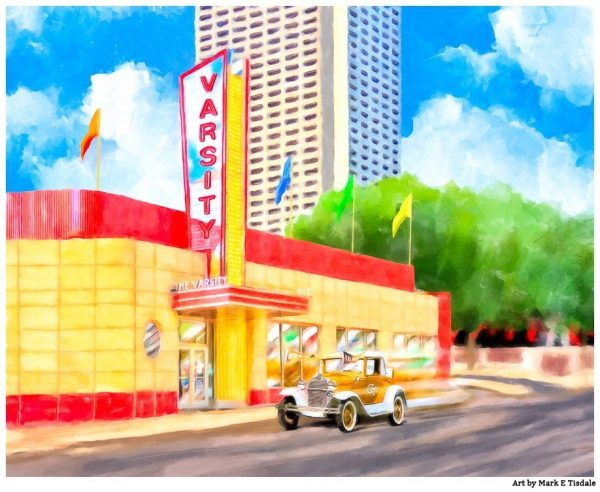 Atlanta Varsity -Colorful Vintage Midtown Artwork