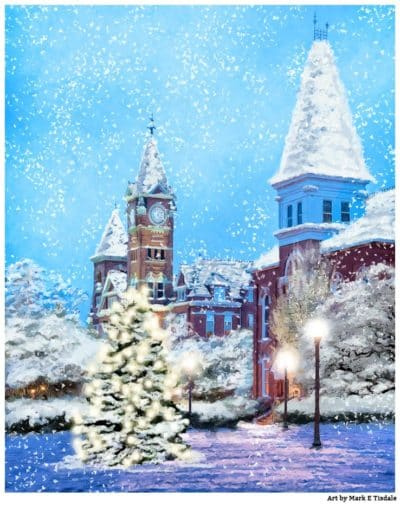 Auburn Christmas Spirit - Falling Snow Art by Mark Tisdale