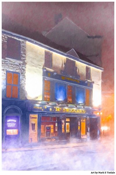Authentic Irish Pub Print by Mark Tisdale - the Winter in Galway