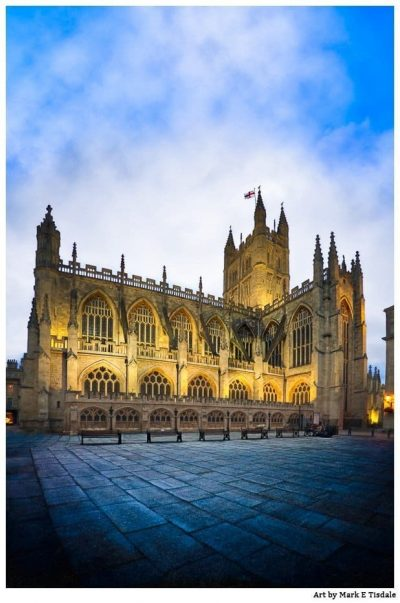 Bath Abbey Print by Mark Tisdale - golden lights and dusk blue skies