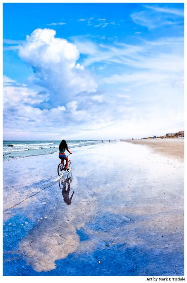 Bicycle on The wet beach sand - Tybee Island Georgia Print By Mark Tisdale