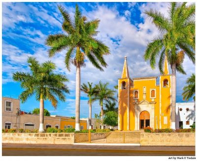 Beautiful yellow church - Merida Mexico Print by Mark Tisdale