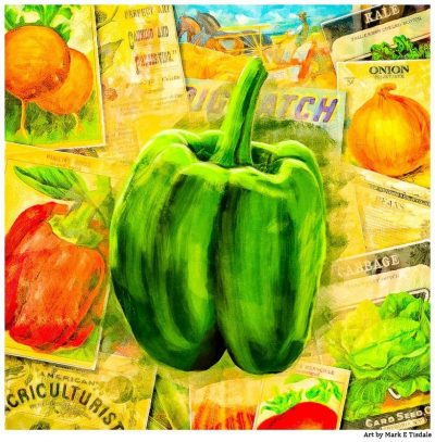 Green Bell Pepper - Vintage Collage Art Print by Mark Tisdale