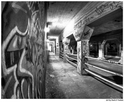 Black and white art print of the Krog Street Tunnel in Atlanta