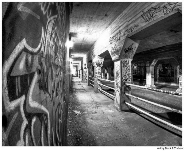 Black and white art print of the Krog Street Tunnel in Atlanta