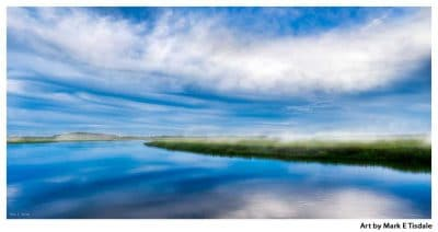 Dusk Blue Skies Over a Misty Moon River Near Savannah Georgia - Moon River Panorama Print by Mark Tisdale