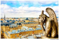 Bored Gargoyle on The Roof Of Notre Dame Overlooking Paris Print by Mark Tisdale