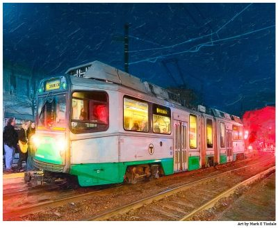 Boston Green Line Train Print - Brookline, MA at Night