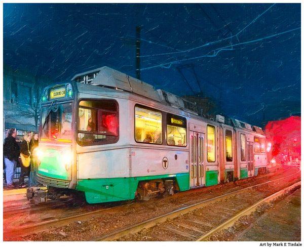Boston Green Line Train Print - Brookline, MA at Night